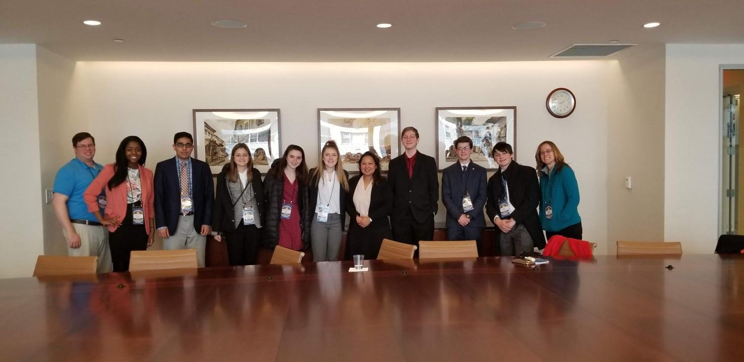 Spalding Students and moderators at the UN National High School Model United Nations conference in New York City.